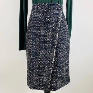 J.CREW Navy Faux-Wrap Pencil Skirt Tweed Sz 6